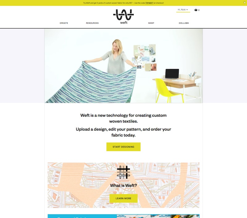 The Weft home page
